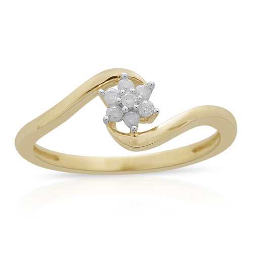 9K Yellow Gold 0.10 Carat Diamond (Rnd) Floral Ring SGL Certified (I3/G-H)