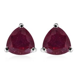 2.50 Ct African Ruby Solitaire Stud Earrings (with Push Back) in Platinum Overlay Silver