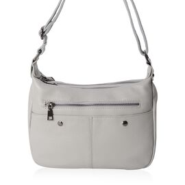 100% Genuine Leather Light Grey Colour Crossbody Bag with External Zipper Pocket and Adjustable Shoulder Strap (Size 26x20x9 Cm)