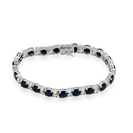 Diffused Blue Sapphire (Rnd), White Topaz Bracelet in Rhodium Plated Sterling Silver (Size 7) 35.000 Ct.
