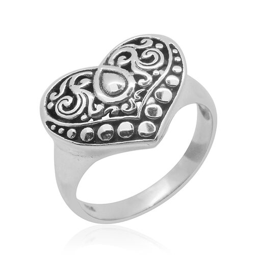 Royal Bali Collection Sterling Silver Heart Ring, Silver wt 4.10 Gms.