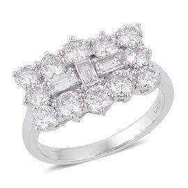 ILIANA 18K W Gold IGI Certified Diamond (Bgt) (SI/G-H) Boat Cluster Ring 2.000 Ct.