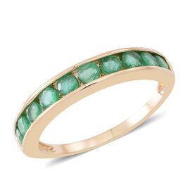 9K Yellow Gold AA Kagem Zambian Emerald (Rnd) Half Eternity Ring 1.000 Ct.
