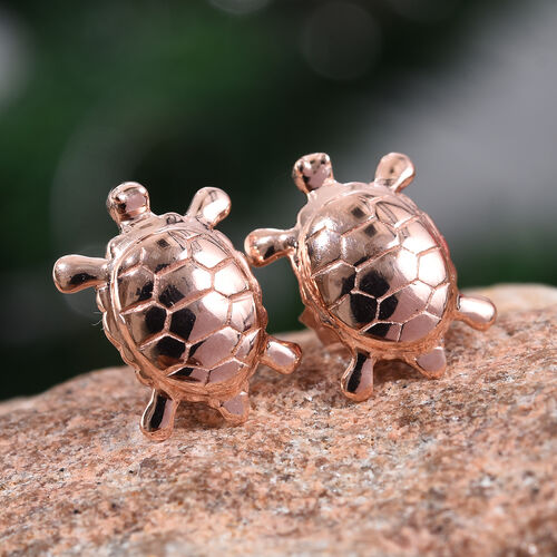 Sterling Silver Turtle Stud Earrings (with Push Back) in Rose Overlay, Silver Wt. 2.67 Gms