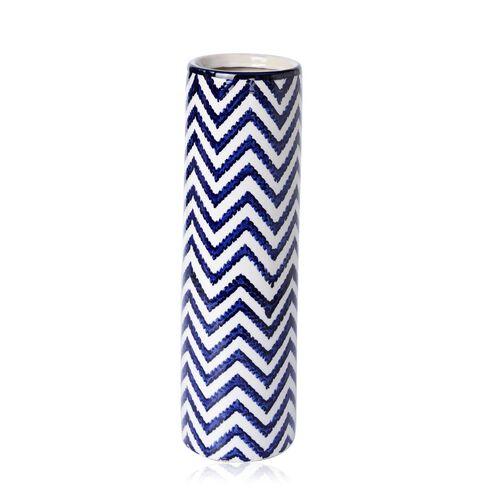 Classic Chinese Blue Colour Chevron Pattern White Colour Flower Vase (Size 40 Cm)