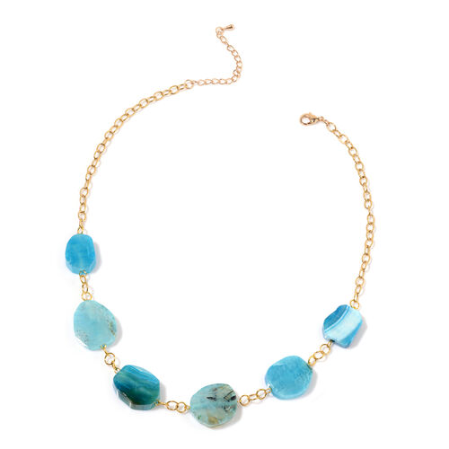 Blue Agate Necklace (Size 20 with 2 inch Extender) in Gold Tone 18.000 Ct.