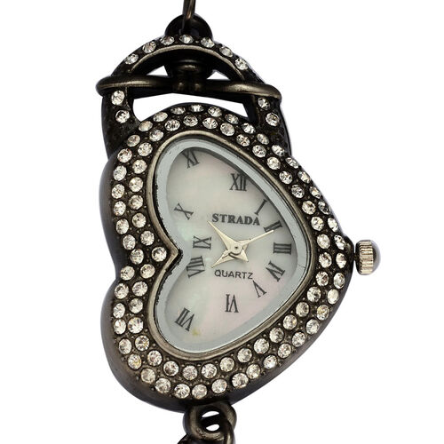 STRADA Japanese Movement Roman Number Dial White Austrian Crystal Water Resistant Watch in Silver Tone Strap with Charms and Stainless Steel Back
