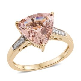 9K Y Gold AA Marropino Morganite (Trl), Diamond Ring 3.500 Ct.