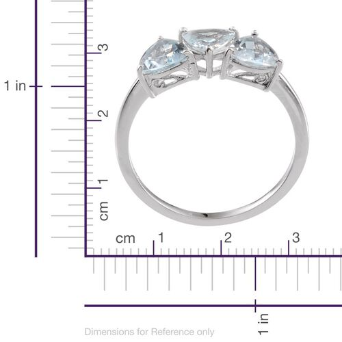 Espirito Santo Aquamarine (Trl) Trilogy Ring in Platinum Overlay Sterling Silver 1.650 Ct.