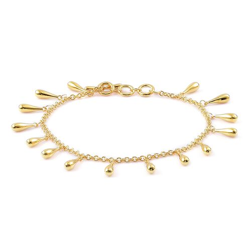 LucyQ Multi Drip Bracelet (Can be worn at Size 7 - 7.5 and  8) in Yellow Gold Overlay Sterling Silver, Silver wt 11.63 Gms.