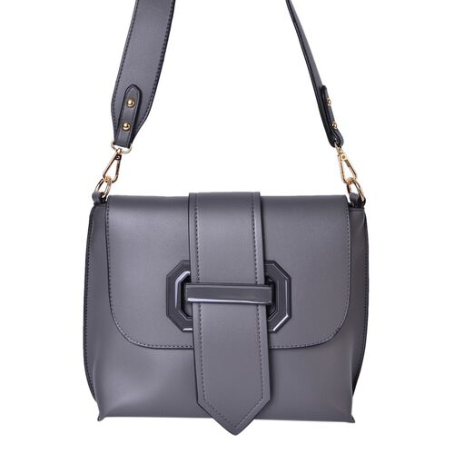 Dark Grey Colour Crossbody Bag with Removable Shoulder Strap (Size 24.5X21X8 Cm)