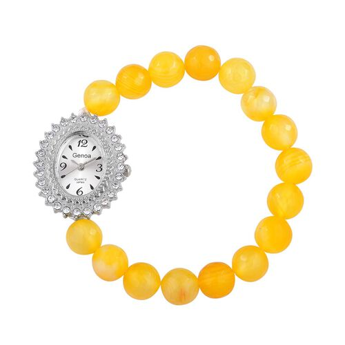 GENOA Japanese Movement White Dial with White Austrian Crystal Watch in Silver Tone with Stainless Steel Back and Stretchable Yellow Agate Strap