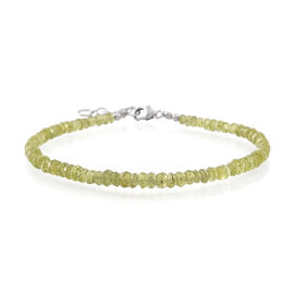 Manchurian Peridot Peridot (Rnd) Beads Bracelet (Size 7.5 with 1 inch Extender) in Rhodium Plated Sterling Silver 25.000 Ct.