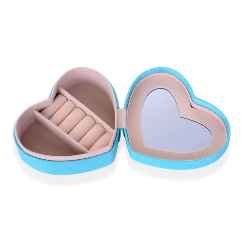 Blue Heart Shape Jewellery Box with Mirror Inside (Size 12.5x10x5 Cm)