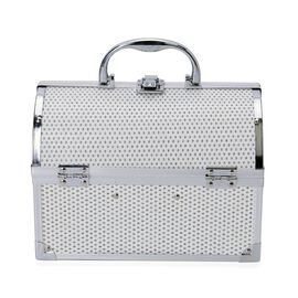 White Colour Glistening Exterior 3 Layer Jewellery Box with 4 Small Extendable Trays (Size 24x18x15 Cm)
