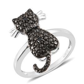 Black Diamond Cat Ring in Platinum Plated Silver
