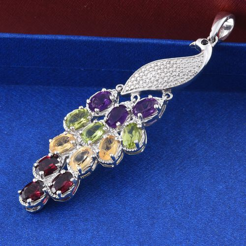 Designer Inspired - Amethyst (Ovl), Hebei Peridot, Citrine, Rhodolite Garnet and Boi Ploi Black Spinel Peacock Pendant in Platinum Plated 5.000 Ct.