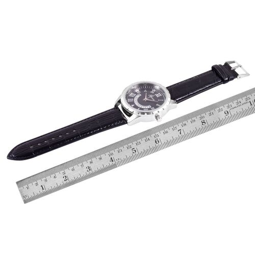 GENOA Japanese Movement Black Dial Water Resistant Watch in Silver Tone with Stainless Steel Back and Black Strap