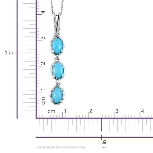 Arizona Sleeping Beauty Turquoise (Ovl) Trilogy Pendant with Chain in Platinum Overlay Sterling Silver 1.250 Ct.