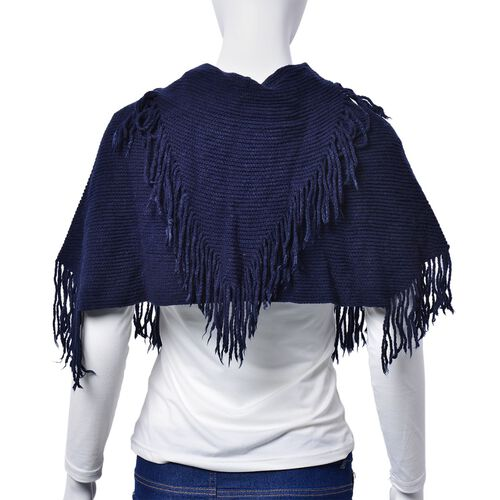 Navy Colour Poncho with Tassels and Yellow Colour Floral Pattern Scarf with Tassels (Free Size)