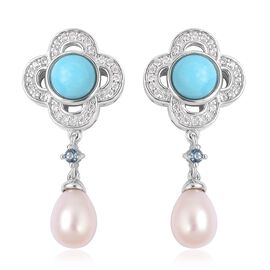 6.73 Ct Arizona Sleeping Beauty Turquoise, Fresh Water Pearl, London Blue Topaz and Natural White Cambodian Zircon Earrings in Rhodium Plated Silver (with Push Back)