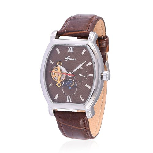 GENOA Automatic Skeleton Chocolate Colour Dial Water Resistant Watch in ION Plated Silver with Stainless Steel Back and Chocolate Strap