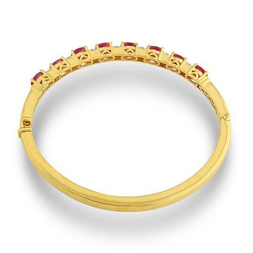 Close Out Deals African Ruby (Ovl), White Topaz Bangle in 14K Gold Overlay Sterling Silver 3.850 Ct.