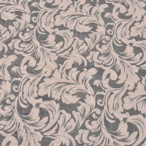 King Size Grey and Cream Colour Printed Microfiber Quilt (Size 260X240 Cm)