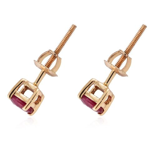 ILIANA 18K Yellow Gold 0.90 Carat AAA Burmese Ruby (Rnd) Stud Earrings (with Screw Back)
