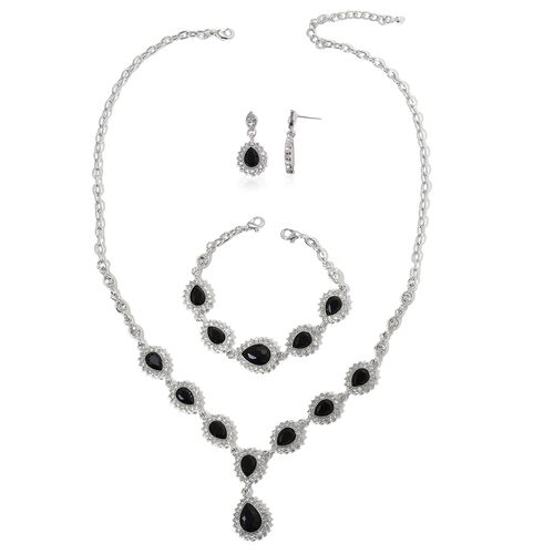 Simulated Black Spinel and White Austrian Crystal Necklace (Size 18 with 3 inch Extender), Earrings (with Push Back) and Bracelet (Size 7.5 with 3 inch Extender) in Silver Tone