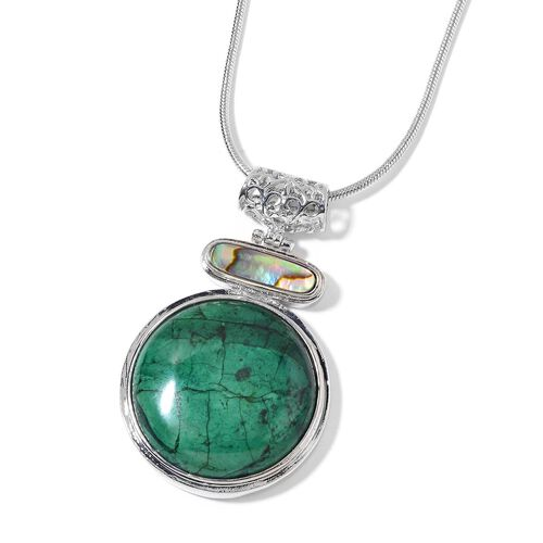 Green Howlite and Abalone Shell Pendant with Chain (Size 18 with 2 inch Extender) in Silver Tone 83.500 Ct.