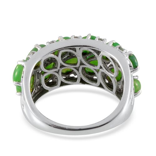 Green Ethiopian Opal (Ovl), White Topaz Ring in Platinum Overlay Sterling Silver 5.750 Ct.