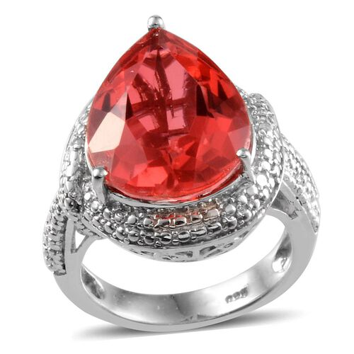 Padparadscha Colour Quartz (Pear 9.75 Ct), Diamond Ring in Platinum Overlay Sterling Silver 9.770 Ct.