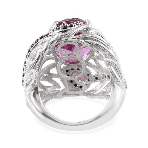 Kunzite Colour Quartz (Ovl 8.85 Ct), Boi Ploi Black Spinel and Rhodolite Garnet Ring in Platinum Overlay Sterling Silver 10.200 Ct.