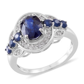 Madagascar Blue Sapphire (Ovl 2.75 Ct), Natural White Cambodian Zircon Ring in Rhodium Plated Sterling Silver 4.250 Ct.