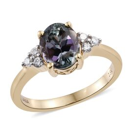 ILIANA 18K Yellow Gold 2.15 Ct Rare AAA Natural Green Tanzanite Ring with Diamond SI G-H