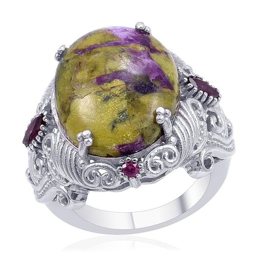 Designer Collection Australian Mohave Stichtite (Ovl 10.65 Ct), Rhodolite Garnet Ring in Platinum Overlay Sterling Silver 11.150 Ct.