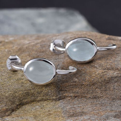 Espirito Santo Aquamarine (Ovl) Earrings (with Push Back) in Platinum Overlay Sterling Silver 4.000 Ct.