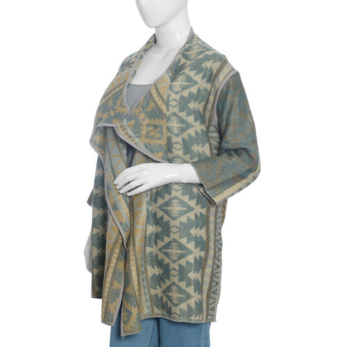 Designer Inspired -Beige, Green and Multi Colour Geometric Pattern Knitted Jacket (Size 85X55 Cm)