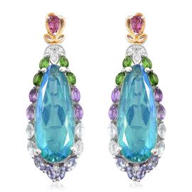 Exclusive Edition- Peacock Quartz, Rhodolite Garnet, Sky Blue Topaz, Russian Diopside, Tanzanite, Amethyst and Multi Gemstone Earrings in Platinum and Yellow Gold Overlay Sterling Silver 31.250 Ct.