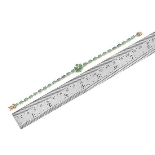 Limited Edition 9K Y Gold AAA Kagem Zambian Emerald (Ovl), Diamond Floral Bracelet (Size 7.5) 6.500 Ct.