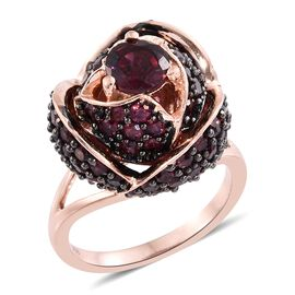 Designer Inspired-Rhodolite Garnet (Rnd) LOTUS Ring in Black Rhodium and Rose Gold Overlay Sterling Silver 5.750 Ct.