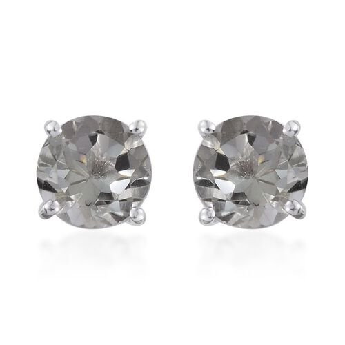 AA Green Amethyst (Rnd) Stud Earrings (with Push Back) in Sterling Silver 3.500 Ct.