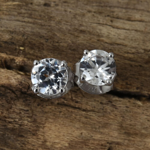 9K White Gold 1.50 Ct AA Natural White Cambodian Zircon (Rnd) Stud Earrings (with Push Back)