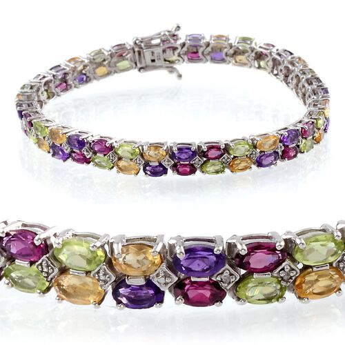 Hebei Peridot (Ovl), Rhodolite Garnet, Zambian Amethyst, Citrine and Diamond Bracelet (Size 7.5) in Platinum Overlay Sterling Silver 15.010 Ct.