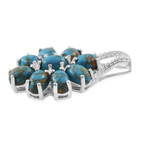 Close Out Deal-Mojave Blue Turquoise (Ovl) Pendant in Sterling Silver 4.250 Ct.