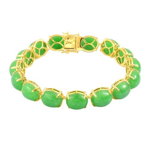 Burmese Green Jade (Ovl) Bracelet (Size 7.75) and Stud Earrings (with Push Back) in Yellow Gold Overlay Sterling Silver 104.750 Ct.