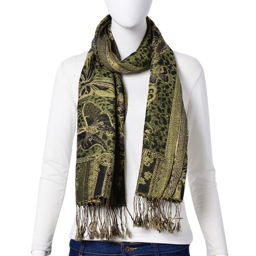 Gold and Multi Colour Butterfly Pattern Green Colour Scarf with Tassels (Size 175x68 Cm)