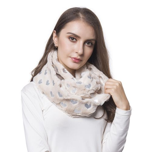 Beige and Silver Colour Heart Pattern Faux Fur Scarf (Size 80X20 Cm)