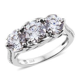 J Francis - Platinum Overlay Sterling Silver (Rnd) 3 Stone Ring Made with SWAROVSKI ZIRCONIA